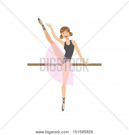 Girl Doing Leg Swing In Ballet Dance Class Exercising With The Pole. Flat Simplified Childish Style Classic Dance Position Illustration Isolated On White Background.