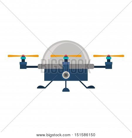 drone advanced with cabin and three airscrew vector illustration