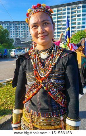 Kota Kinabalu,Sabah-Aug 31,2016:A beautiful Dusun Lotud woman ethnic of Borneo with its costume during the Malaysia National Day at Kota Kinabalu,Sabah,Borneo.