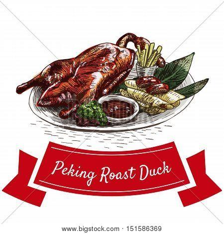 Peking roast duck colorful illustration. Vector illustration of Chinese cuisine.