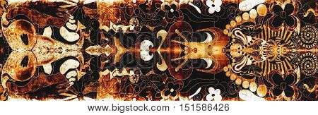 Abstract and detailed texture structure in gold and black