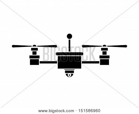 silhouette drone with camera and two airscrew vector illustration