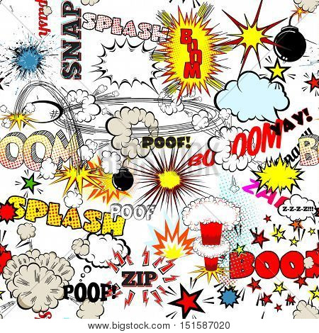 Seamless Comic Book Explosion, Bombs And Blast Set. Bubbles for speech, different sounds and splashes vector