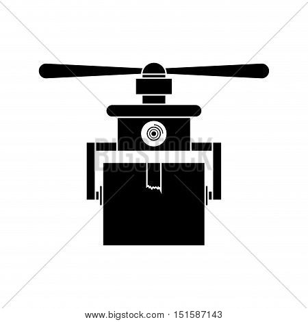 silhouette drone carrying box with one airscrew vector illustration