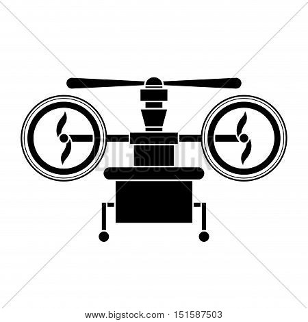 silhouette drone with train of landing and three airscrew vector illustration
