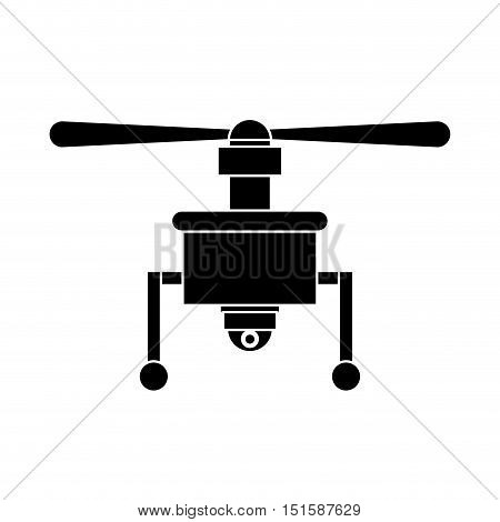 silhouette drone with camera and one airscrew vector illustration