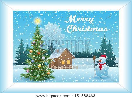 Winter Forest Landscape, Country House, Snowman, Snowflakes and Christmas Holiday Fir Tree with Decorations. Eps10, Contains Transparencies. Vector