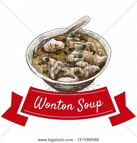 Wonton soup colorful illustration. Vector illustration of Chinese cuisine.