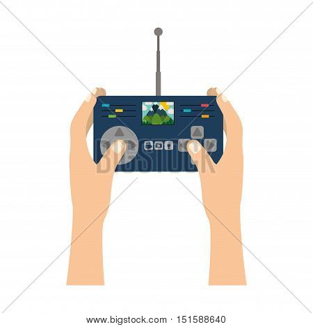 hands holding control remote advanced for drones with camera vector illustration