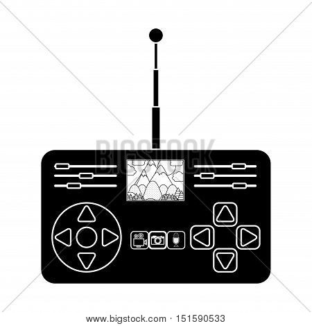 silhouette remote control advanced for drones with antenna and camera vector illustration
