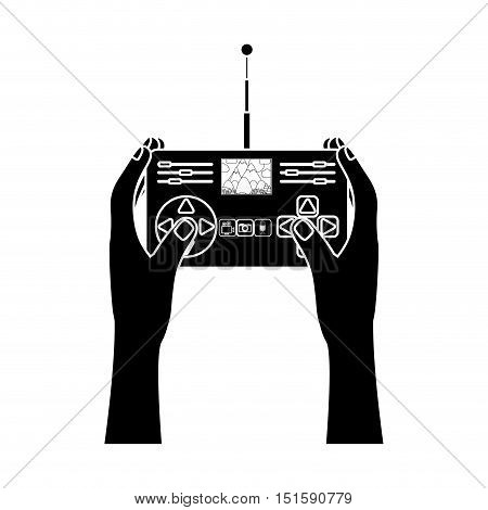 silhouette hands holding control remote advanced for drones with camera vector illustration