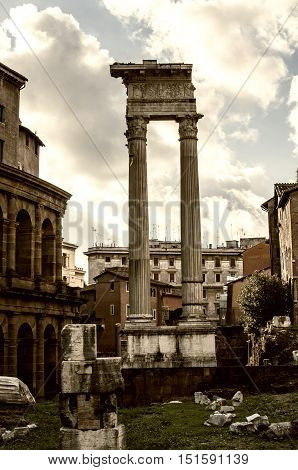 Stone columns in the Imperial forums of Emperor Augustus. Rome, Italy