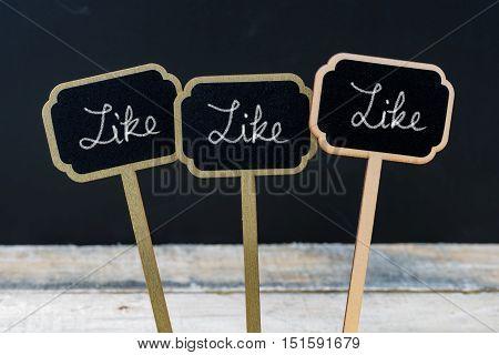 Motivational Message Like, Like, Like Written With Chalk
