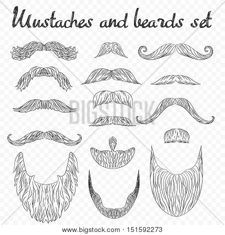 Man hair, mustache, beards collection isolated on transperant alpha background. Hipster high detailed retro fashion elements. in outline line drawing style