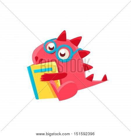Red Dragon Reading A Book Illustration. Silly Childish Drawing Isolated On White Background. Funny Fantastic Animal Colorful Vector Sticker.