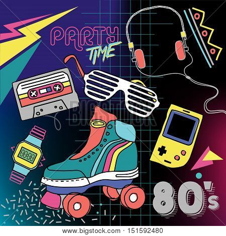 80's Retro elements Colorful  background. Retro vector graphic poster. Eighties style fashion style graphic template. Easy editable for Your design.