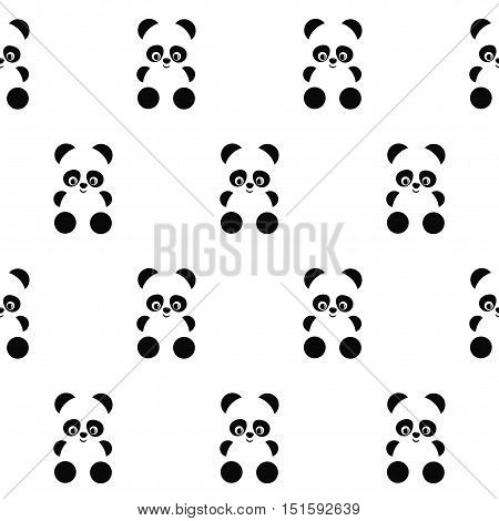 Panda seamless pattern on white background. Cute design for print on baby's clothes, textile, wallpaper, fabric. Vector background with smiling baby animal panda. Simple child style illustration.