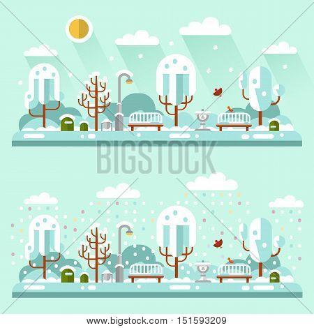 Flat design vector nature winter landscape illustrations of park. Including bench, lantern, drinking bowl for birds, birds, snowfall, snow, trees, bush, sun, snowdrift.