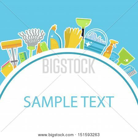 Set of icons for cleaning tools.Template for text. House cleaning staff. Flat design style. Cleaning design elements. Vector illustration