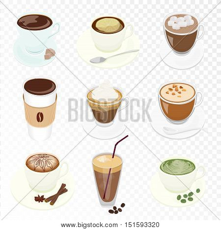 Set of different Vector Coffee cup and many kinds of coffee for cafe restaurant coffee menu isolated on the alpha transpetant background