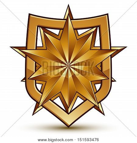 Golden geometric symbol stylized golden polygonal star best for use in web and graphic design