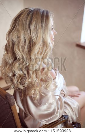 Healthy Hair. Curly Long Hairstyle. Back View Of Blond Hairs. Hair Styling. Wedding Day. Bride.