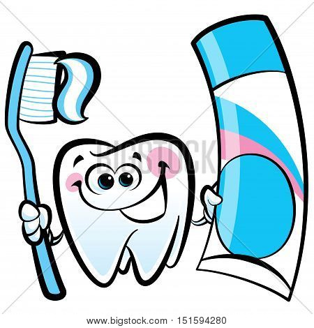 Healthy cute cartoon tooth character smiling happily and holding a dental tooth brush and tooth paste