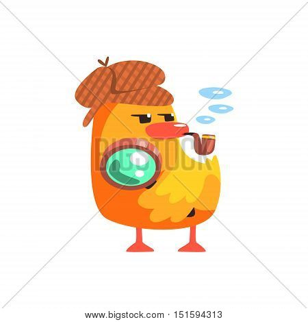 Duckling Private Detective Cute Character Sticker. Little Duck In Funny Situation Childish Cartoon Graphic Illustration On White Background.