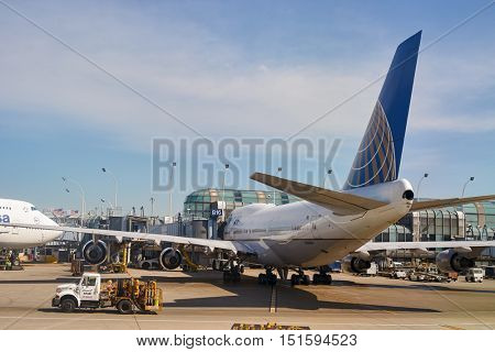 CHICAGO, IL - APRIL 05, 2016: passenger jet aircraft at O'Hare Airport. Chicago O'Hare International Airport is an international airport located on the Far Northwest Side of Chicago, Illinois.
