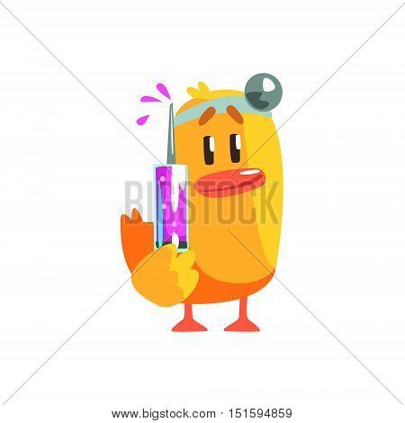 Duckling Doctor Cute Character Sticker. Little Duck In Funny Situation Childish Cartoon Graphic Illustration On White Background.