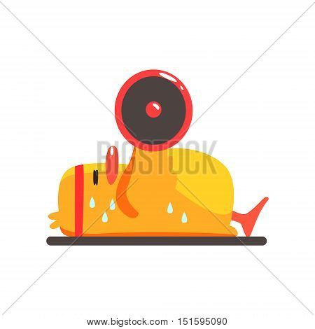 Duckling In Gym Cute Character Sticker. Little Duck In Funny Situation Childish Cartoon Graphic Illustration On White Background.