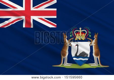 Flag of Western Australia (WA) is a state occupying the entire western third of Australia. 3d illustration