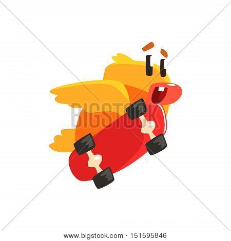 Duckling Skateboarding Cute Character Sticker. Little Duck In Funny Situation Childish Cartoon Graphic Illustration On White Background.