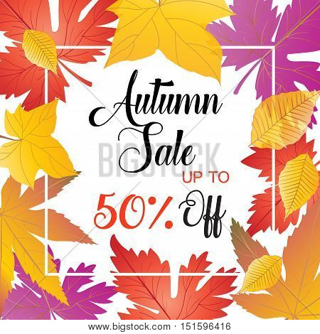 Autumn Sale Up To fifty percent Off. Abstract Sale background. Fall season. Vector Illustration.