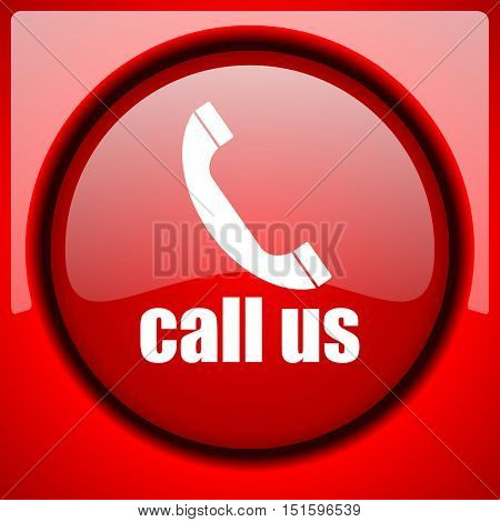 call us red icon plastic glossy button