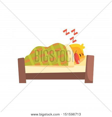 Sleeping Duckling Cute Character Sticker. Little Duck In Funny Situation Childish Cartoon Graphic Illustration On White Background.