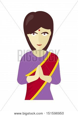 Indians woman in traditional dress performing namaste gesture. Young flat style Indian woman in traditional clothes. A rural Indian woman in sari. Vector illustration on white background