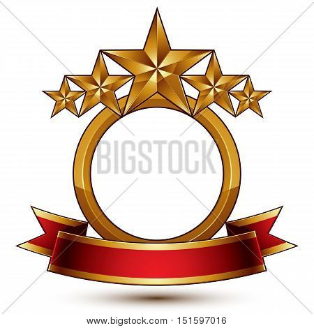 Majestic vector golden ring isolated on white background 3d polished five golden stars.