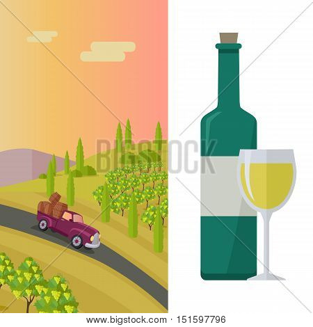 Wine production banner. Bottle of wine, beaker, vineyard, wooden barrel, with grape valley on background. Creative advertisement poster for white wine. Part of series of viniculture preparation. Vector
