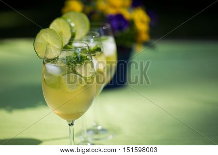 Hugo, Cocktail with Alcohol on a garden table