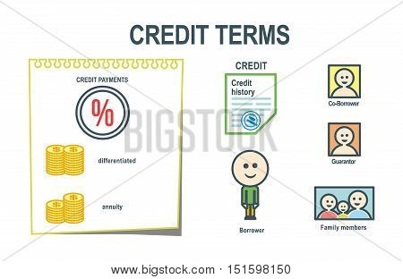 Credit terms. Applying for a loan. The process of obtaining a loan. Credit steps. Info-graphic elements.
