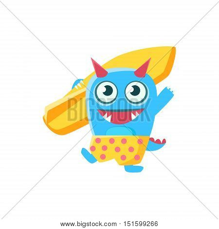 Happy Blue Monster With Horns And Spiky Tail With Surfboard. Silly Childish Drawing Isolated On White Background. Funny Fantastic Animal Colorful Vector Sticker.