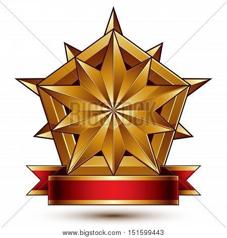 Vector glorious glossy design element luxury 3d polygonal golden star placed on a decorative blazon