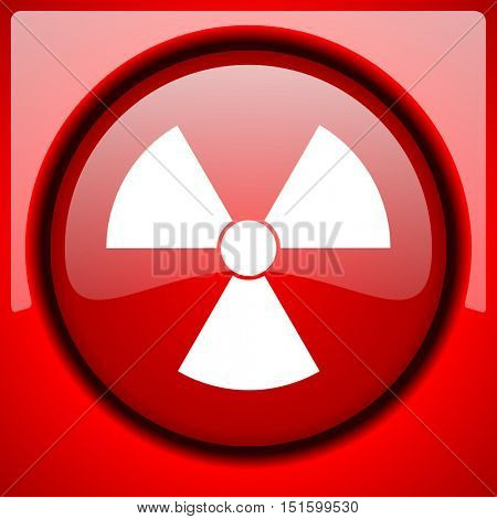 radiation red icon plastic glossy button
