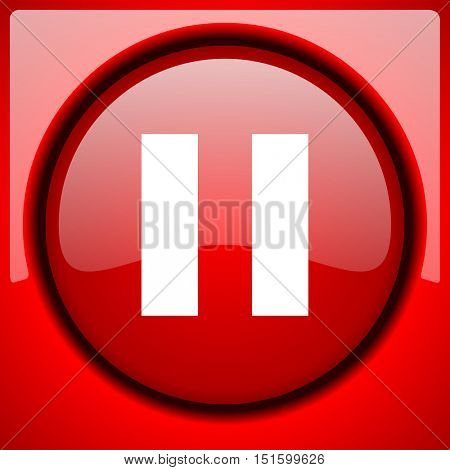 pause red icon plastic glossy button