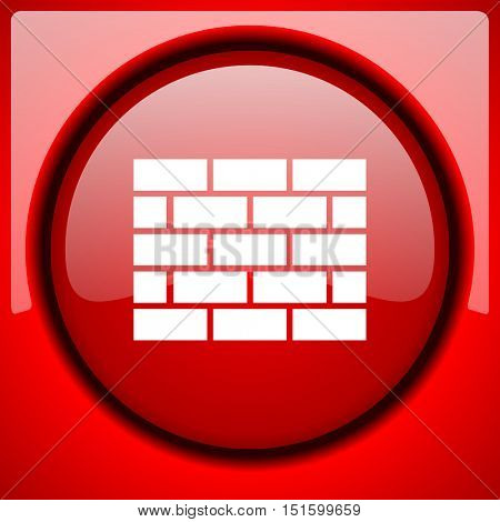 firewall red icon plastic glossy button