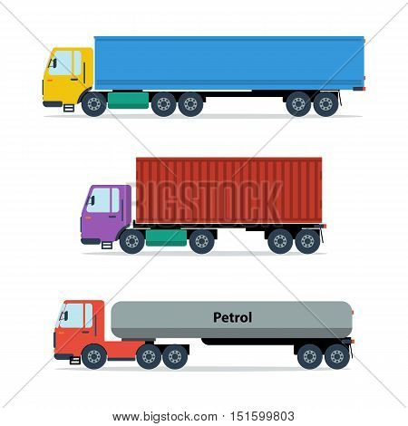 Vector illustration of three types of trucks isolated on white. Long-truck, tractor with container and gasoline tanker in flat style