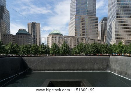 New York USA - September 21 2015: Memorial Waterfall commemorating the September 11 attack of 2001 in New York.