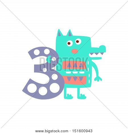 Wolf Standing Next To Number Three Stylized Funky Animal. Weird Colorful Flat Vector Illustration For Kids On White Background,