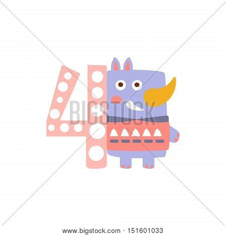 Rhinoceros Standing Next To Number Four Stylized Funky Animal. Weird Colorful Flat Vector Illustration For Kids On White Background,